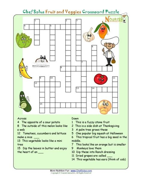 puzzle cuisine printable crossword puzzles for from nourish click to print this nutrition