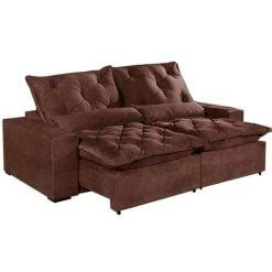 sofa elegance confort retratil  reclinavel tecido suede  metros