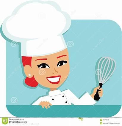 Chef Cartoon Baking Woman Kok Vrouwenchef Femme