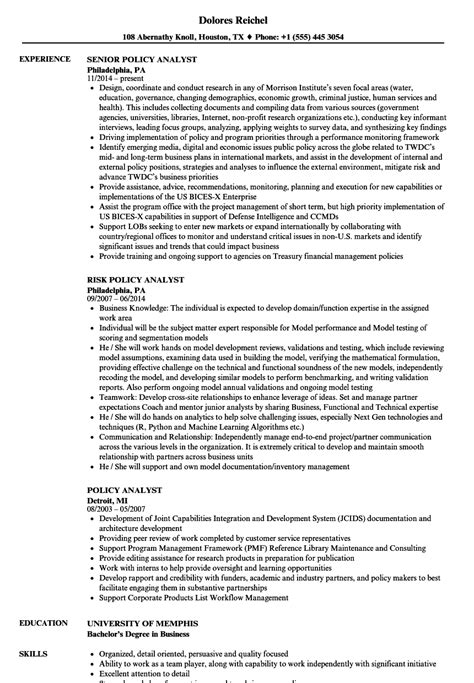 Policy Analyst Cover Letter by Policy Analyst Resume Sles Velvet