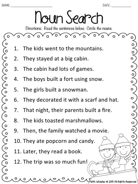snow kid freebies pdf grammar worksheets english grammar worksheets teaching