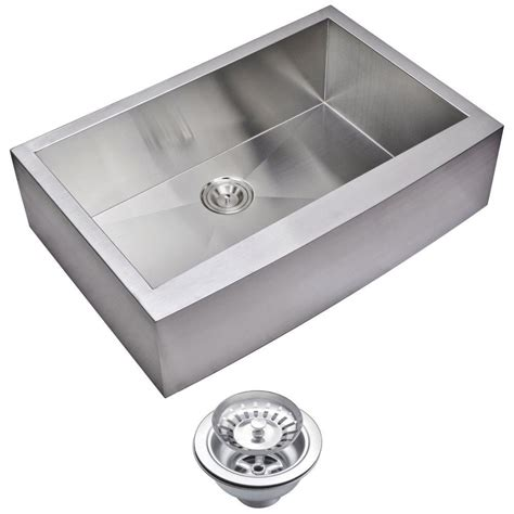 apron sink kitchen water creation farmhouse apron front zero radius stainless 1324