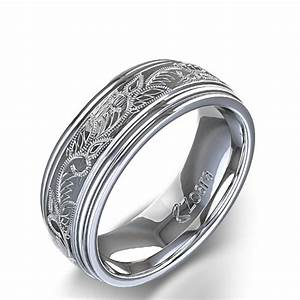 Vintage scroll design men39s wedding ring in 14k white gold for Mens wedding ring bands