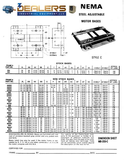 Electric Motor Dimensions by Adjustable Motor Base Dimensions