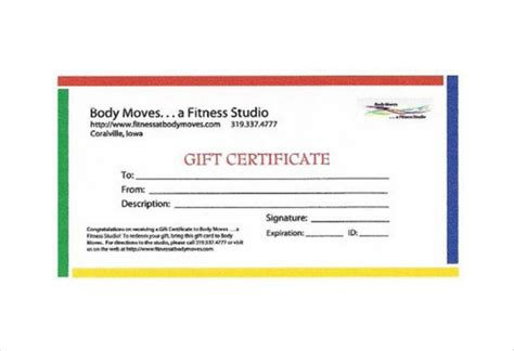 Personal Trainer Gift Certificate Template by Clipart Birthday Gift Certificate Template