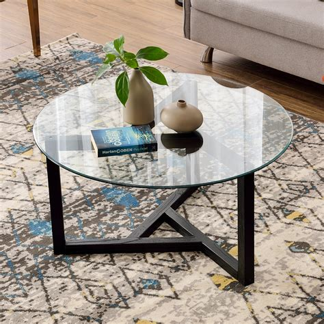 """Latitude run® 35.4 round coffee table w/ tempered glass for living room w/ matural wood base table base, wood/glass/solid wood 