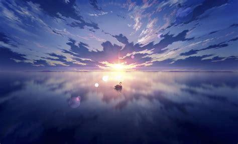 Wallpaper Anime Landscape, Beyond The Clouds, Sunset, Lens ...