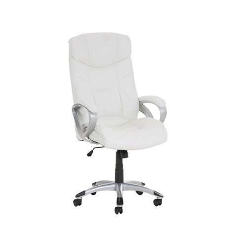 chaise simili cuir blanc fauteuil chaise de bureau ergonomique simili cuir blanc