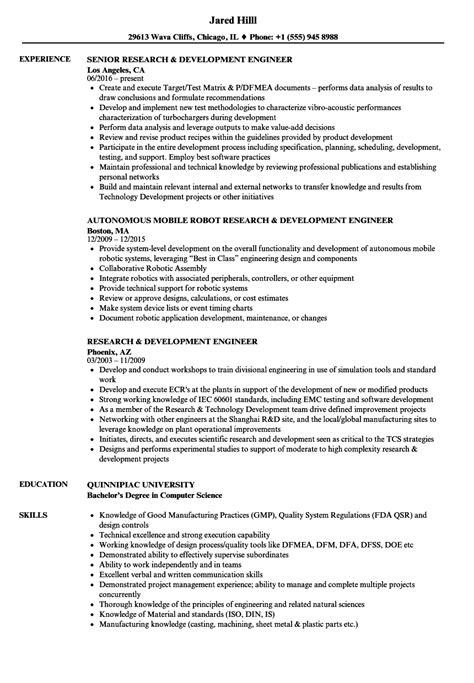 Resume R D by Research And Development Resume Vvengelbert Nl