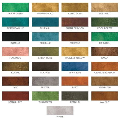 eco stain concrete stain water based color chart