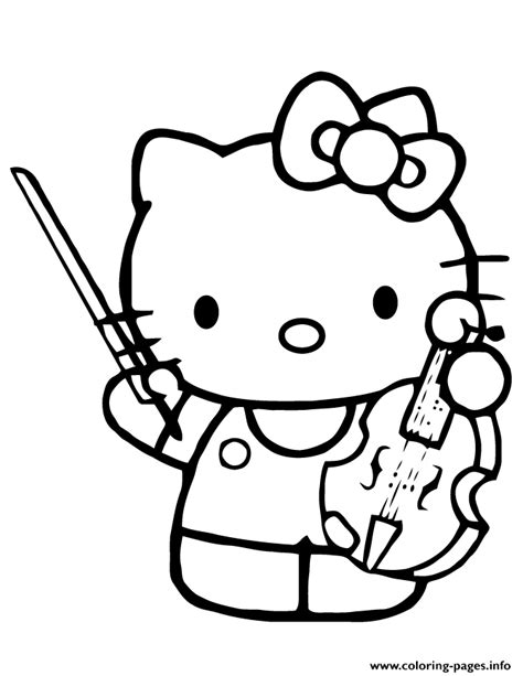 kitty playing violin instrument coloring pages printable