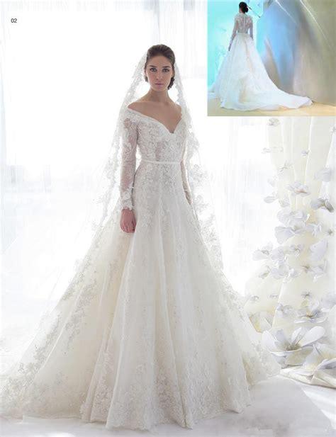 2015 Mot Beautiful Lace Long Sleeve Wedding Dresses Chapel