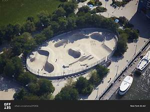 Aerial view of Pier 62 Skate park in the Hudson River Park ...