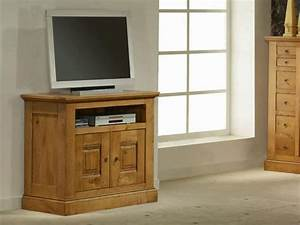 Meuble Tv Rustique : meuble tv rustique honorine en chene massif 2 portes 1 ~ Nature-et-papiers.com Idées de Décoration