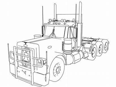 Semi Coloring Truck Pages Peterbilt Kenworth Trailer