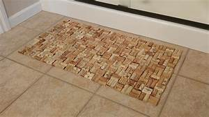 wine cork bath mat think crafts by createforless With bathroom cork mat