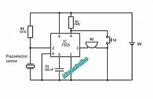 piezoelectric sensor burglar alarm mechatrofice With circuit piezo