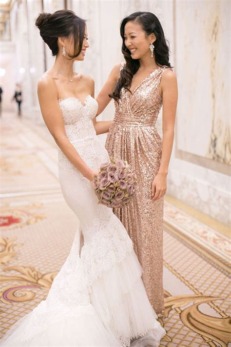 sequin bridesmaid dress v neck gold sequined bridesmaid dress strapless mermaid lace wedding dress deer pearl flowers