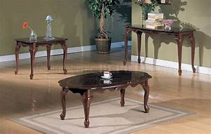 cherry wood finish traditional 3pc coffee table set With cherry wood coffee table sets
