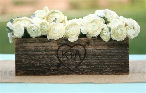 Barn Wedding Centerpieces : Barn Wood Rustic Vase Centerpiece Personalized By Braggingbags