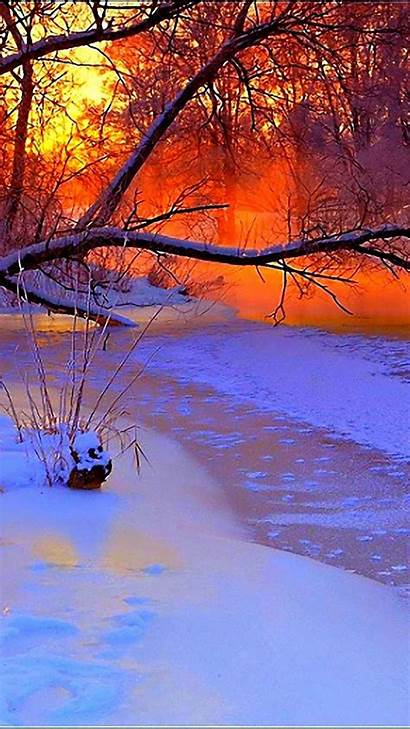 Winter Wonderland Scenes Sunset Trees River Together