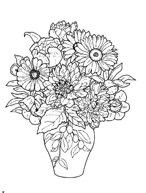 Beautiful flower vase Flower coloring pages Coloring pages