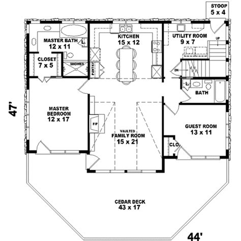 Country Style House Plan 2 Beds 2 00 Baths 1280 Sq/Ft