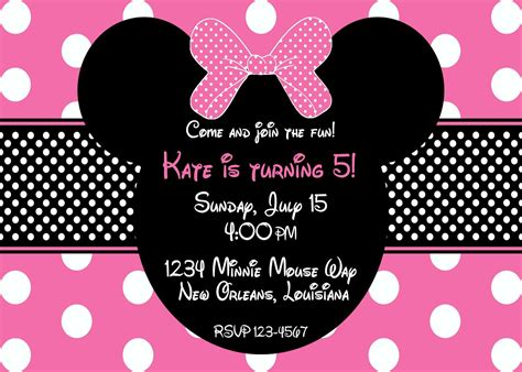 Minnie Mouse Template Invitation by Pink Minnie Mouse Birthday Invitation By Lovebandpdesigns