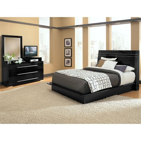 dimora 5 panel bedroom with media dresser black american signature furniture