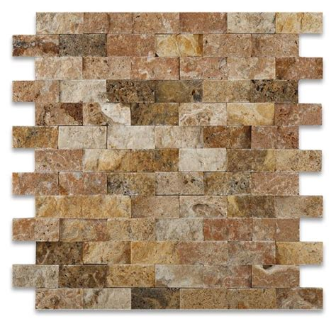 Scabos Travertine Wall Tile by 1 X 2 Scabos Travertine Brick Mosaic Tile Split Faced