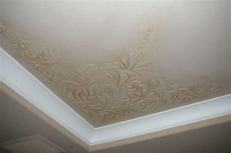 dimensional stencil  glaze  tray ceiling bedroom