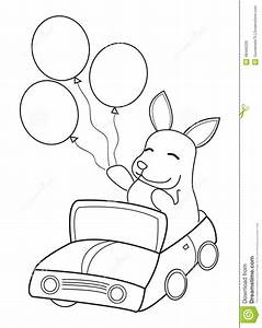 hand drawn coloring page of a bunny riding in a car with With car subwoofers