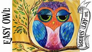 Very EASY Colorful Owl   Acrylic Painting Lesson for ...