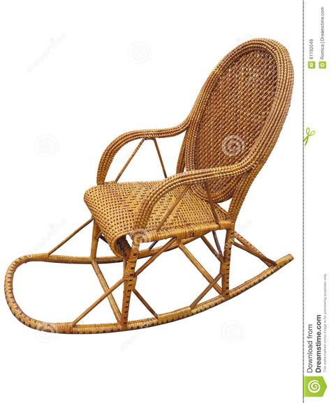 wicker brown rocking chair isolated on white stock photo