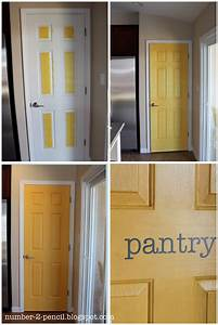 yellow pantry door makeover no 2 pencil With kitchen colors with white cabinets with numbered stickers