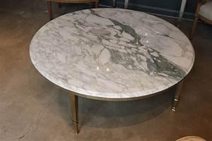 mid century round white marble and brass coffee or With white marble and brass coffee table
