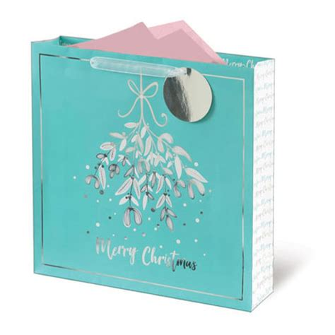 Metallic Mistletoe Christmas Large Square Gift Bag 33cm ...