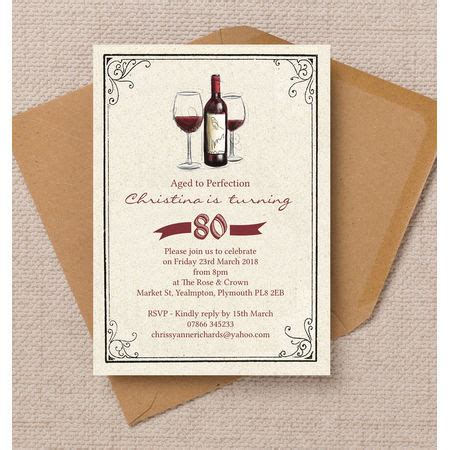vintage red wine themed  birthday party invitation