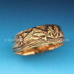 gold trout fishing band in either 14k yellow white by With fishing wedding ring