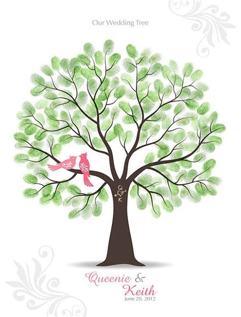 thumbprint wedding tree guest book poster with ink by tjloveprints 47 00 wedding day tree