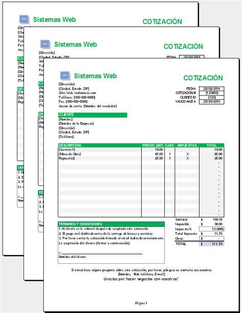 Crear Un Templates Con Listas De Audio by Plantilla De Cotizaci 243 N Excel Plantillas Gratis