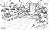 Garden Sketch Drawing Perspective Patio Vertical Waterfall Draw Sketches Bench sketch template