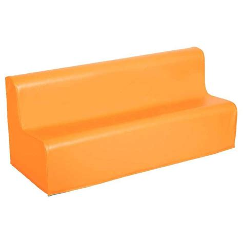 mousse de canape canapé 3 places en mousse avec housse en pvc orange n c
