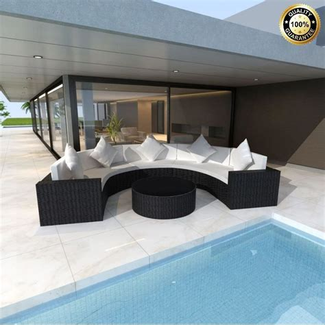 xl rattan sofa set black large table seating garden