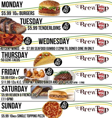 the daily specials at brew top pub patio dining at