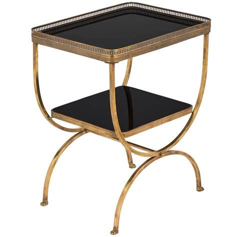 black vintage table l vintage black glass brass curule side table jean marc fray