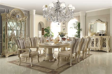 homey design white 12 pc traditional dining room set