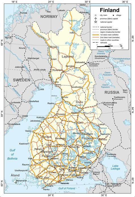 maps  finland detailed map  finland  english