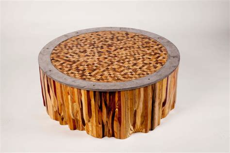 mid century modern end tables made mixed wood mosaic end grain top coffee table by