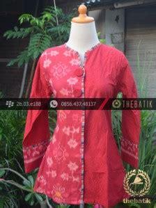 jual model baju batik kerja wanita merah ikat thebatik